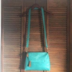 EUC Turquoise Faux Leather Crossbody